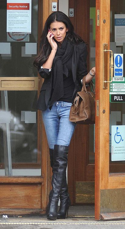 Black Boots In Jeans Thigh High Boots Outfit Winter Fashion