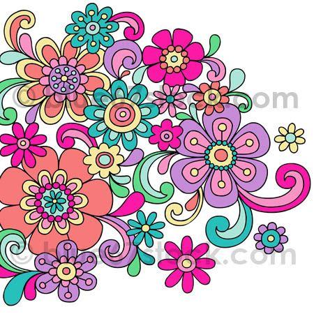 Hand-Drawn Psychedelic Flowers Doodle Vector Illustration by blue67design, via Flickr