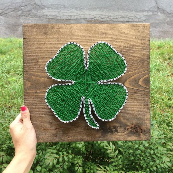 four leaf clover string art sign made to order pinterest nagelbilder fadenkunst und. Black Bedroom Furniture Sets. Home Design Ideas