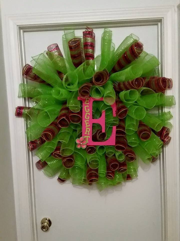 Curly Deco Mesh Wreath I made for a Birthday