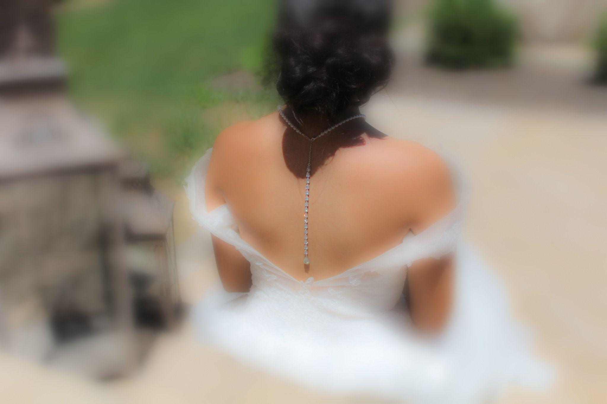 Crystal back necklace bridal jewelry backdrop necklace bridal