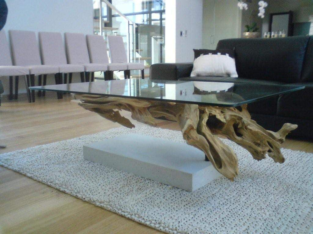 Coffee Table With Driftwood Fake Base Table Basse Bois Flotte Table Basse Bois Table Basse [ 768 x 1024 Pixel ]