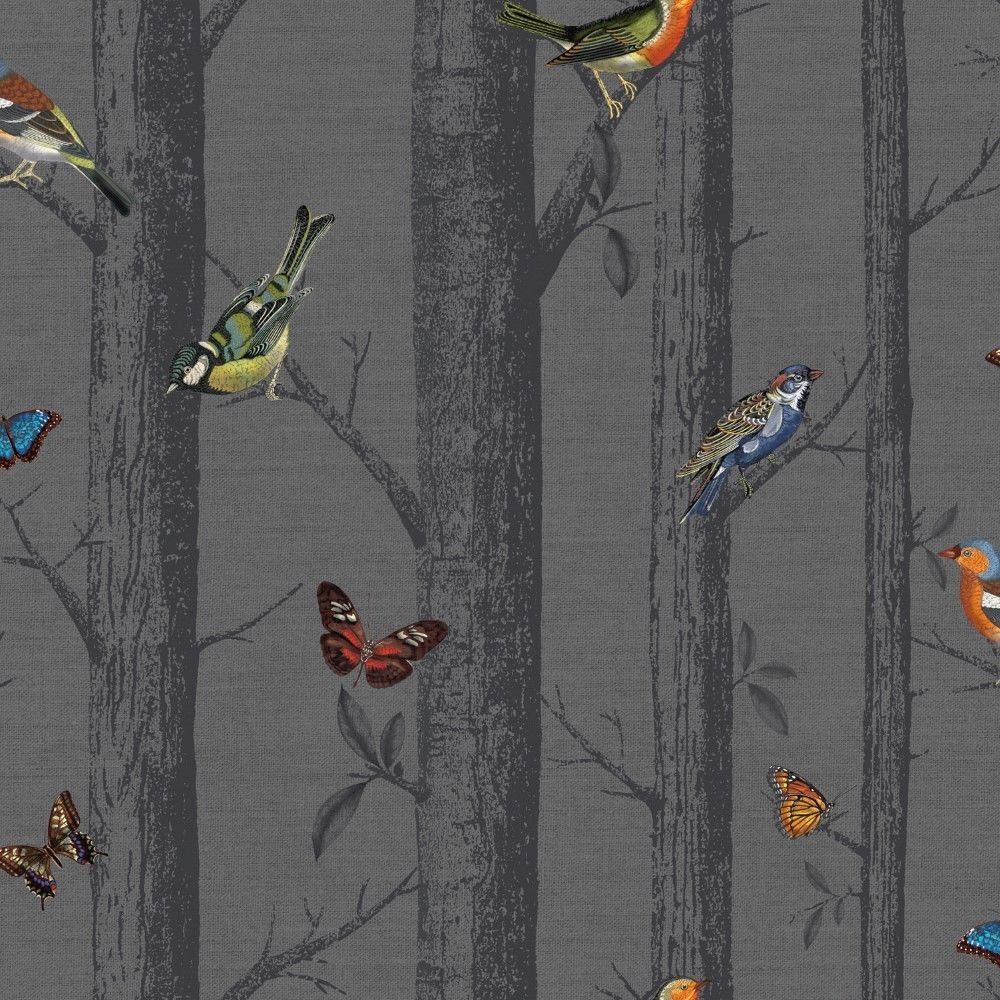 Multi Birds On Black Birch Tree Wallpaper Epping Forest With Butterflies 12230 Birch Tree Wallpaper Tree Wallpaper Bird Wallpaper