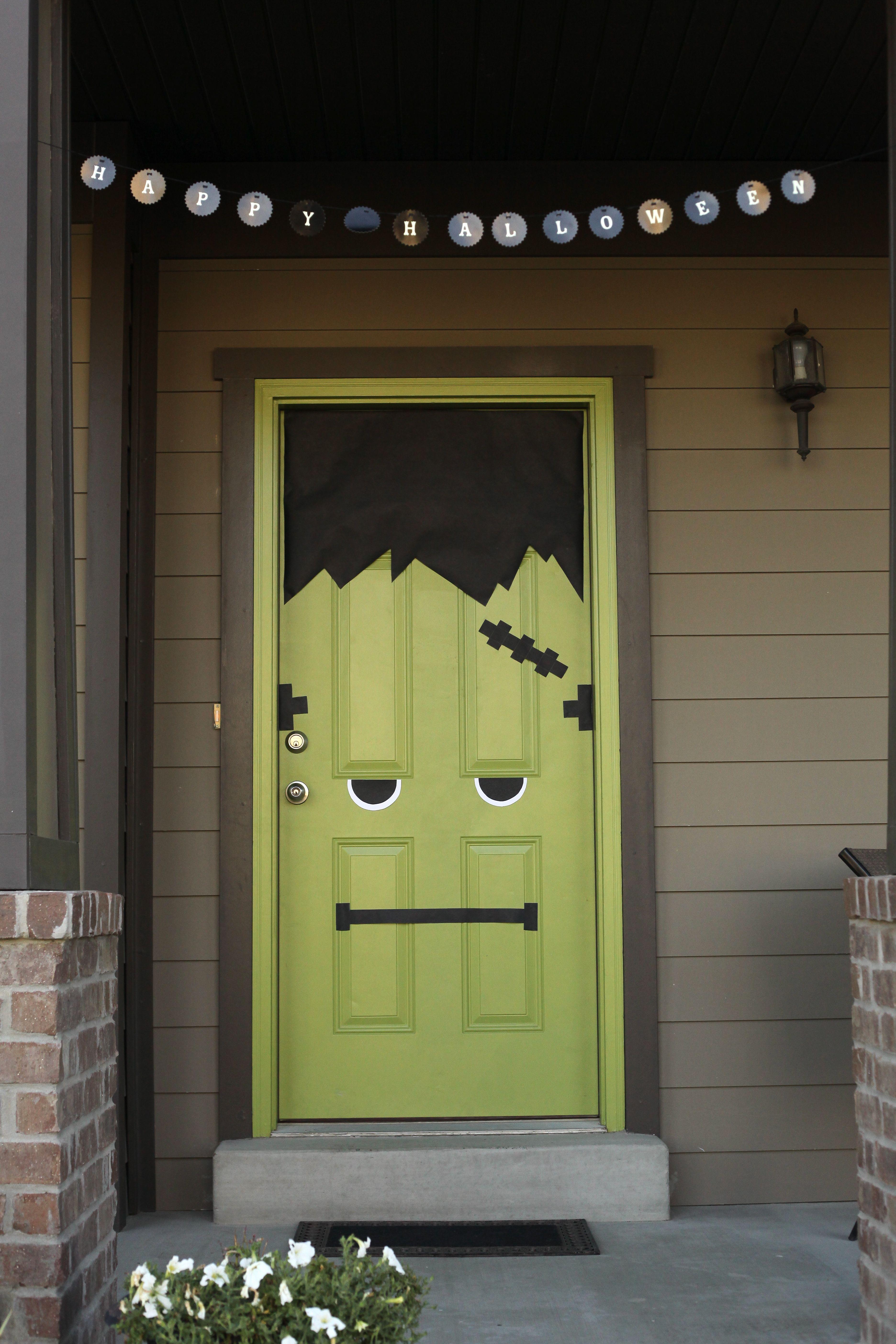 Frankenstein My Green Front Door Halloween Door Decorations Halloween Door Halloween Porch