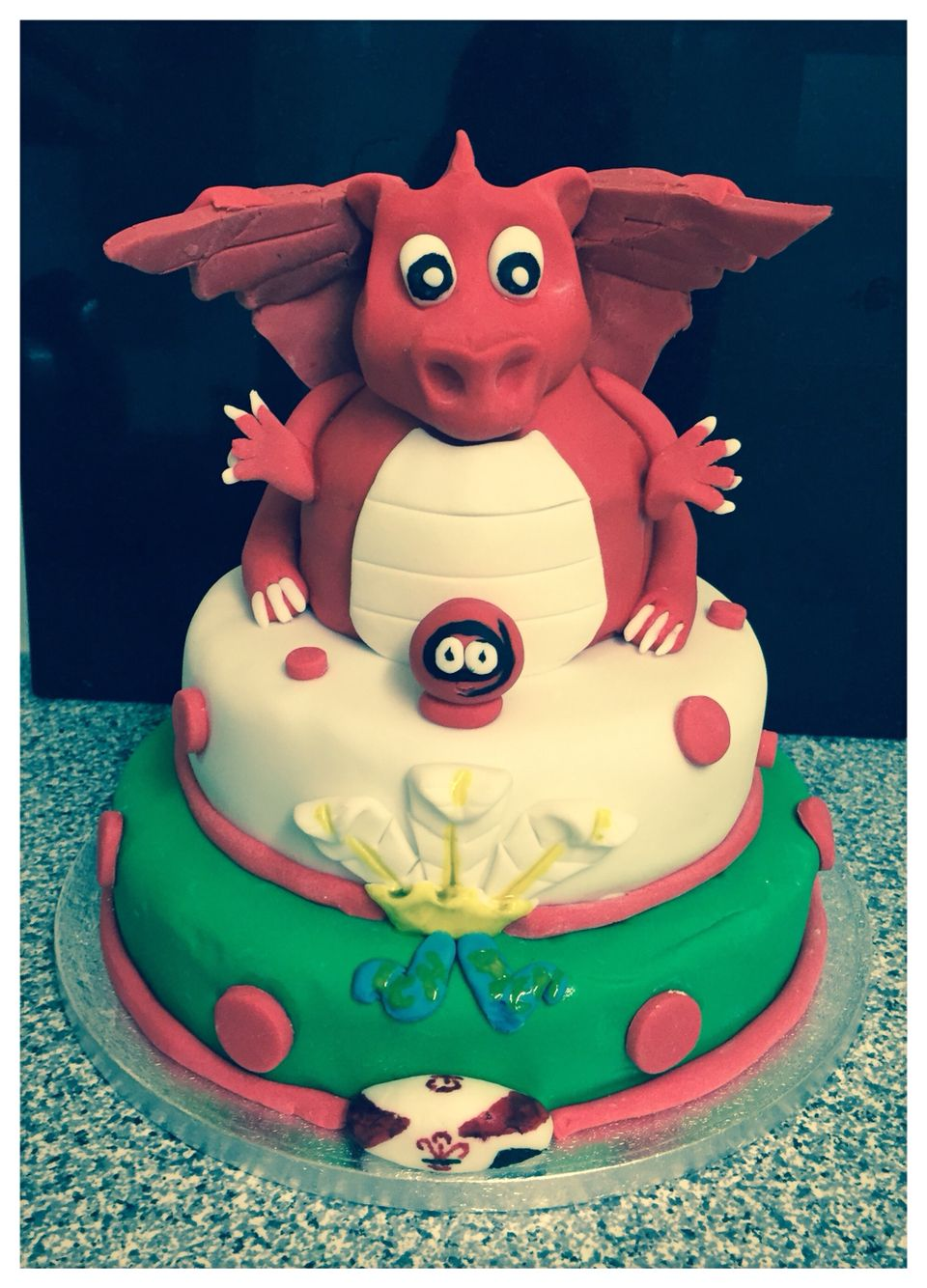 Welsh dragon rugby and Comic Relief themed cake CakeArt
