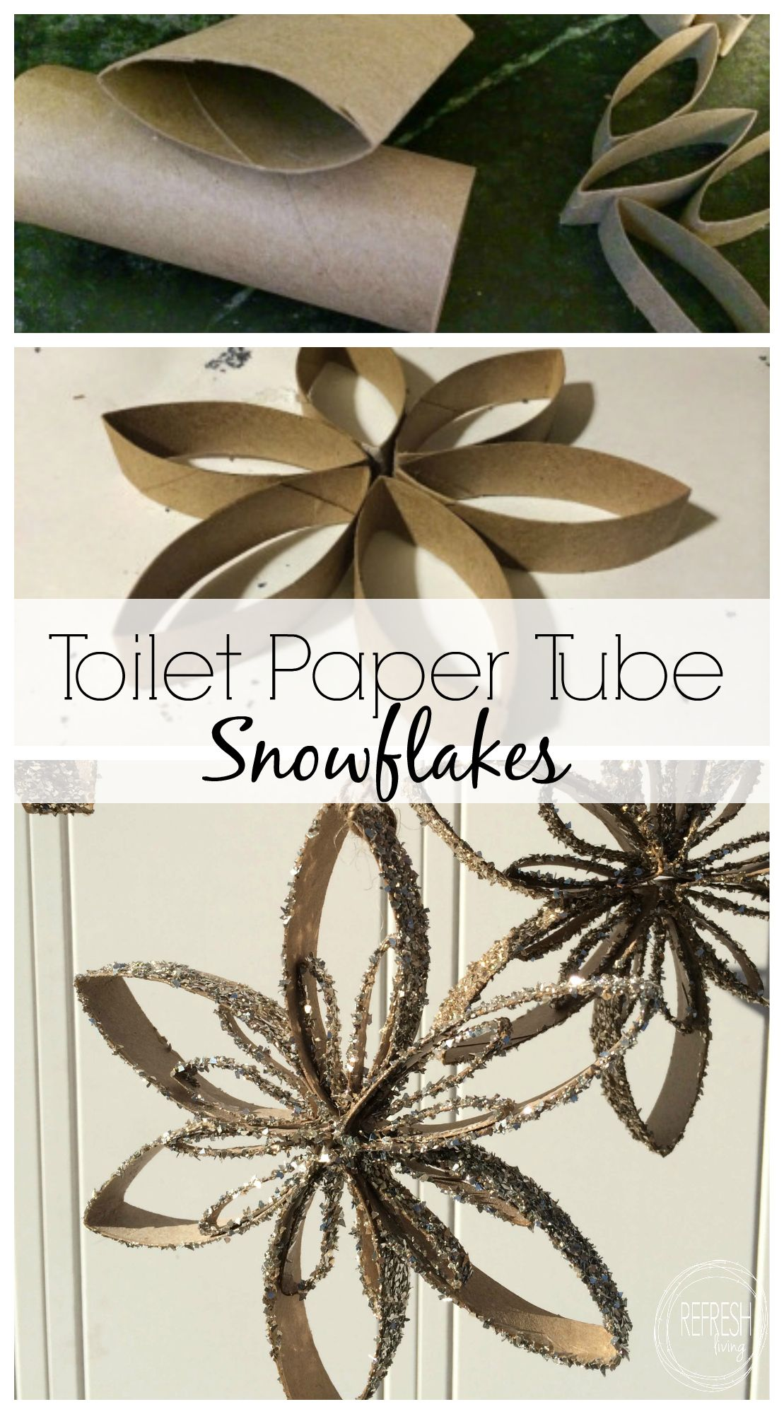 Make snowflake ornaments - Reuse Old Toilet Paper Tubes To Make Snowflake Ornaments