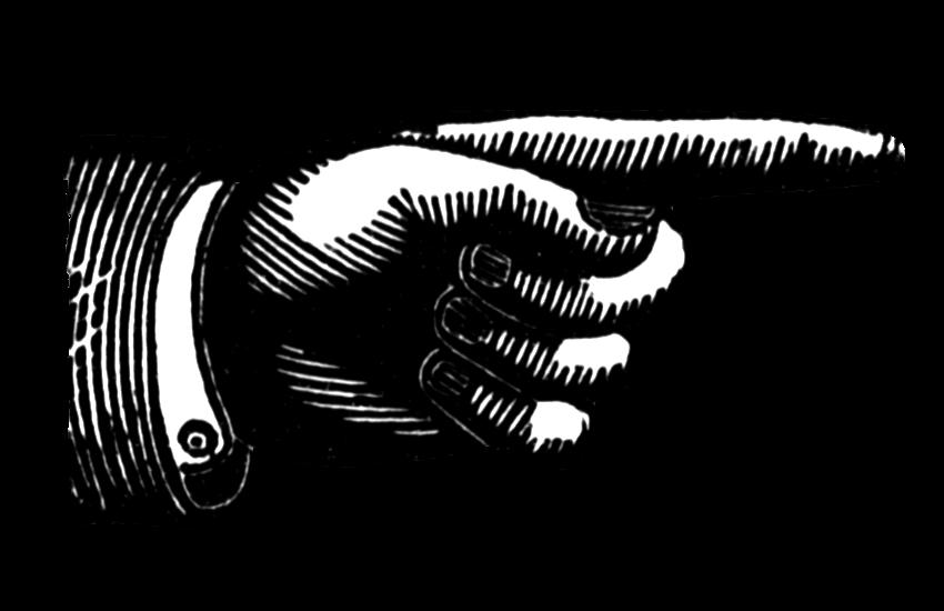 Vintage Snips And Clips: Hand Pointing Finger Vintage