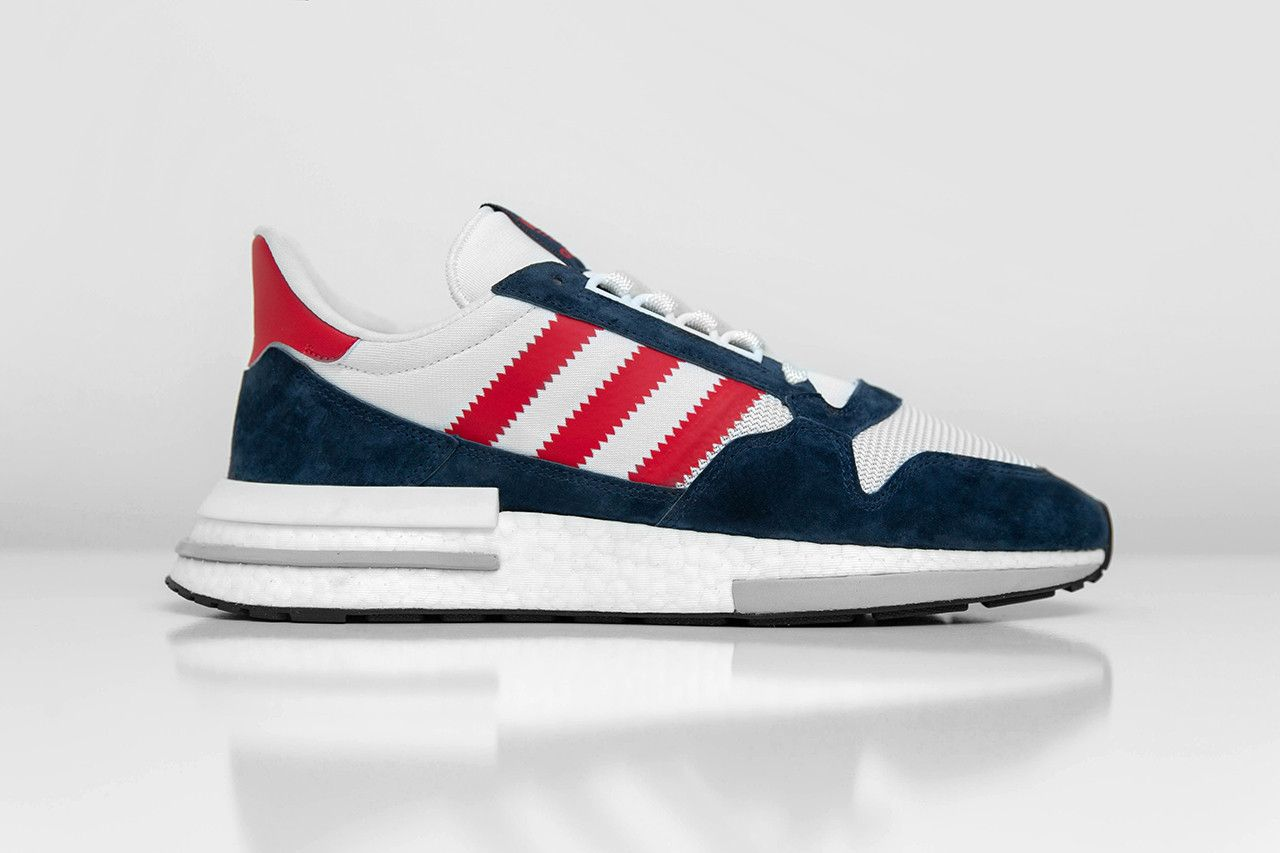 big sale 87cb2 e72c3 adidas Originals Wraps ZX500 RM in Navy & Red for Size ...