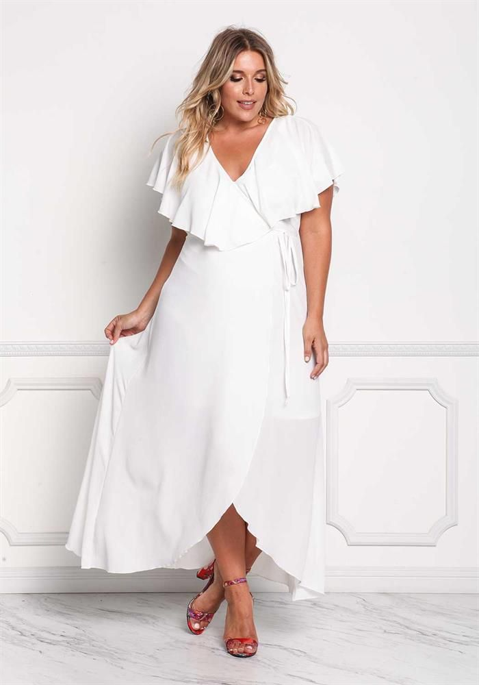 82248477d54 Plus Size Clothing | Plus Size Ruffle Layered Wrap Maxi Dress | Debshops