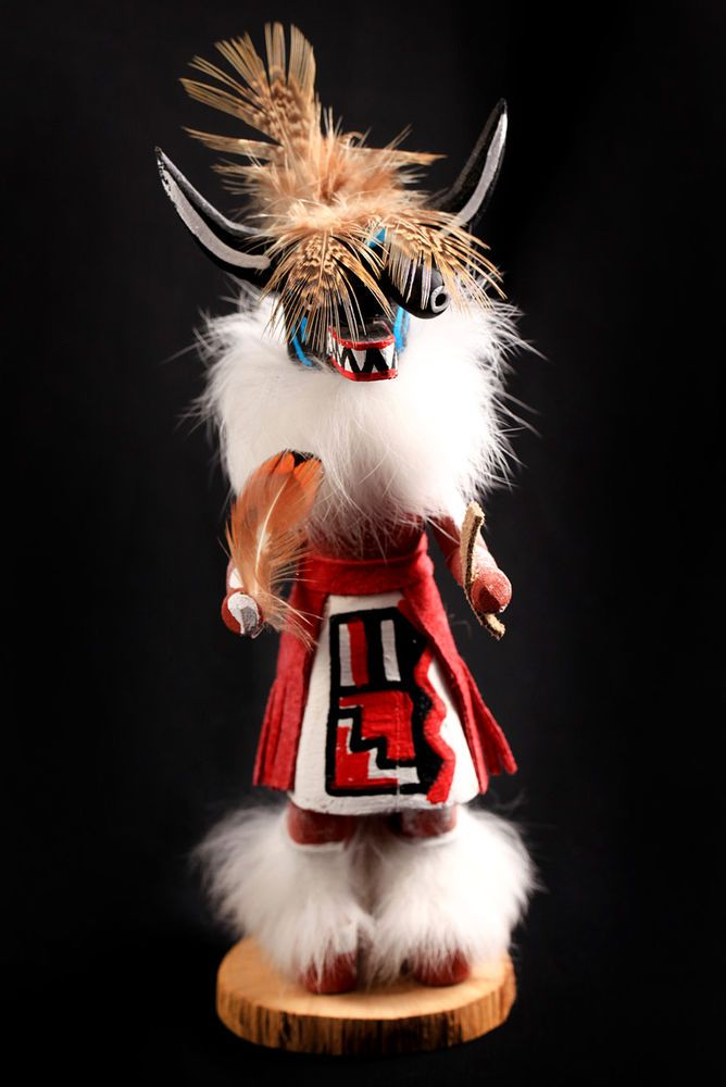 Vintage Black Ogre Hopi Kachina Doll Artist Signed D.L.