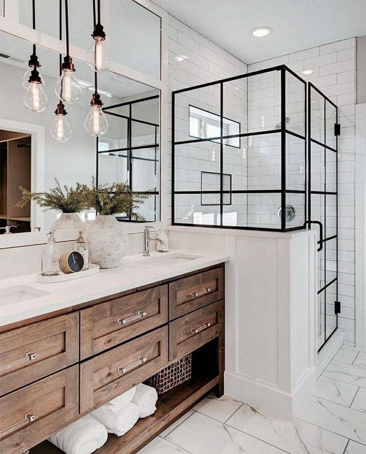 Photo of White bathroom with black shower