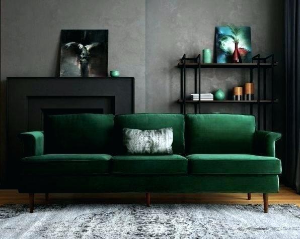 Dark Green Sofa And Grey Walls Wikie Cloud Design Ideas Green Sofa Green Sofa Living Room Brown Living Room
