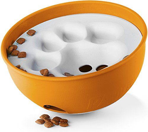 Cat Food Enrichment Paw5 Rock N Bowl Puzzle Feeder Dog Bowl