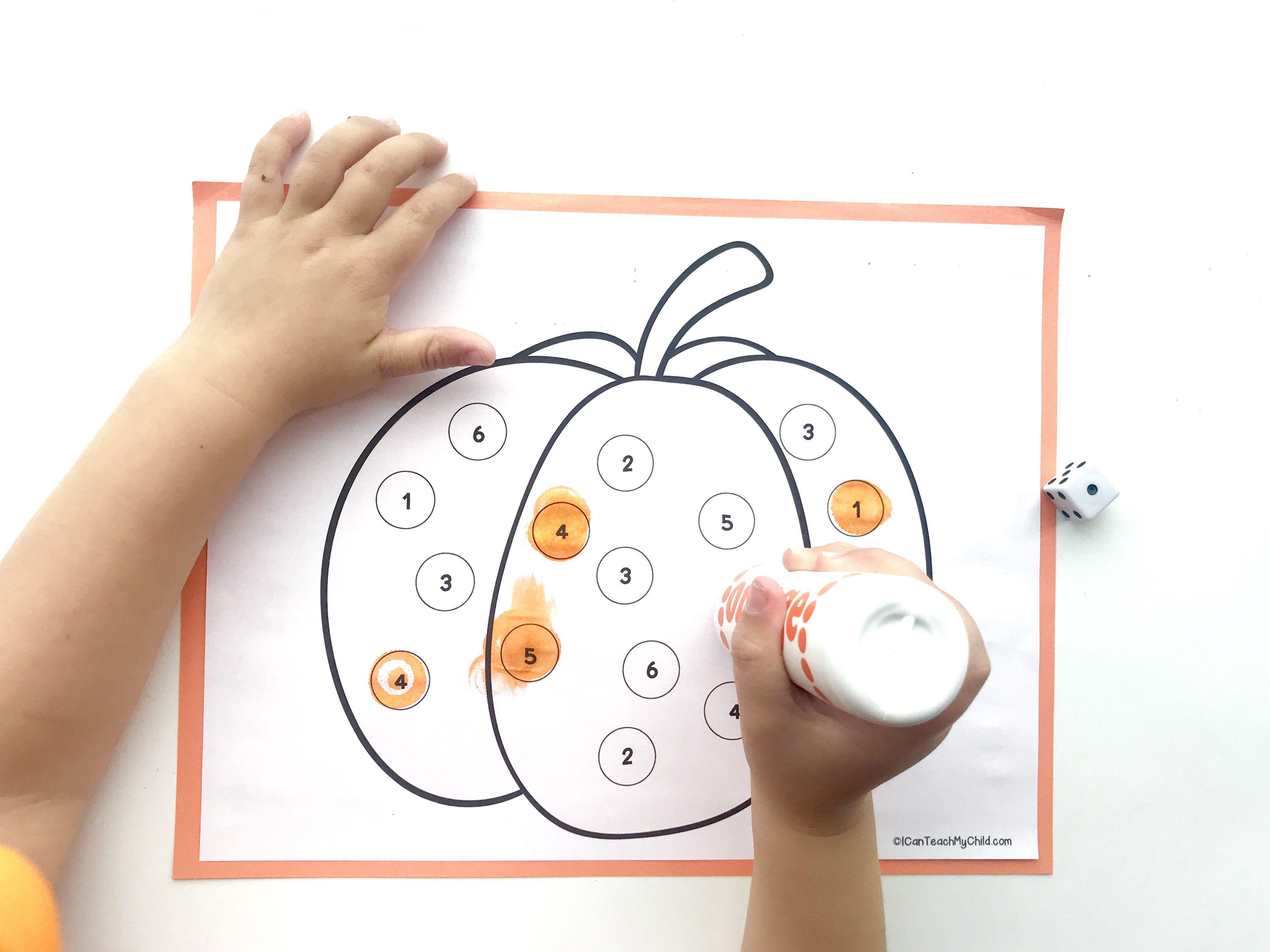 Roll And Mark Pumpkin Dot Art Activity