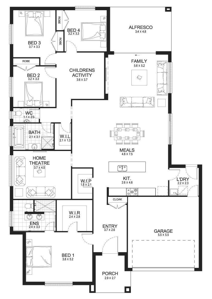 Ruby 30 Single Level Floorplan By Kurmond Homes New In 2020 6 Bedroom House Plans House Plans Dream House Plans