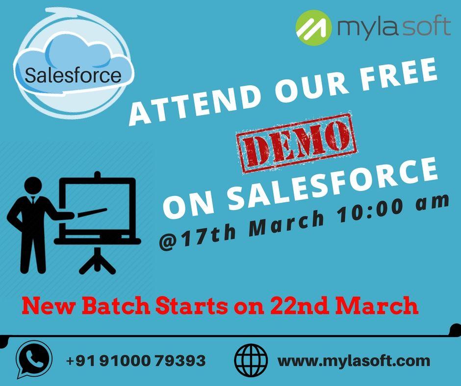 Free Demo On Salesforce On 17th March @Mylasoft Adress