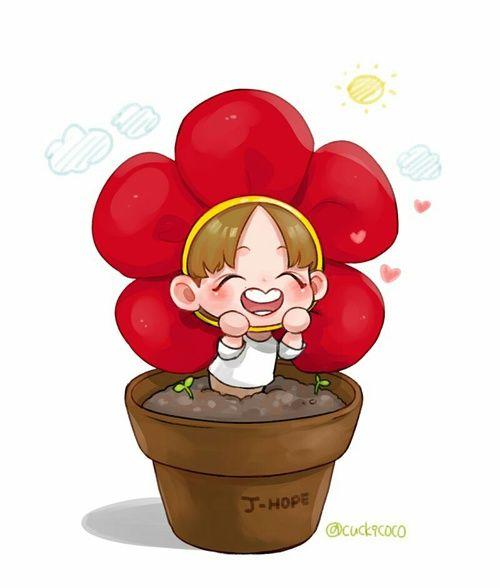 Bts Fanart Jhope Flower Cute Happy Hoseok Bts Fanart Jhope Flower Bts Wallpaper