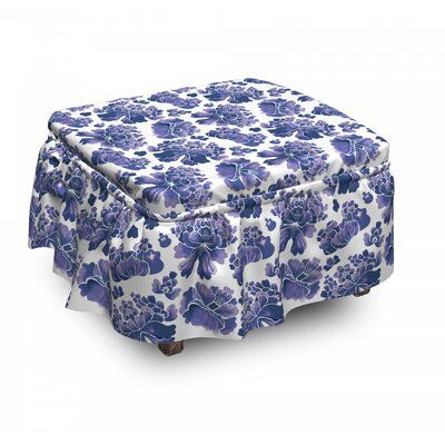 East Urban Home Ambesonne Floral Ottoman Cover, Watercolor Chinese Art, 2 Piece Slipcover Set With Ruffle Skirt For Square Round Cube Footstool Decora