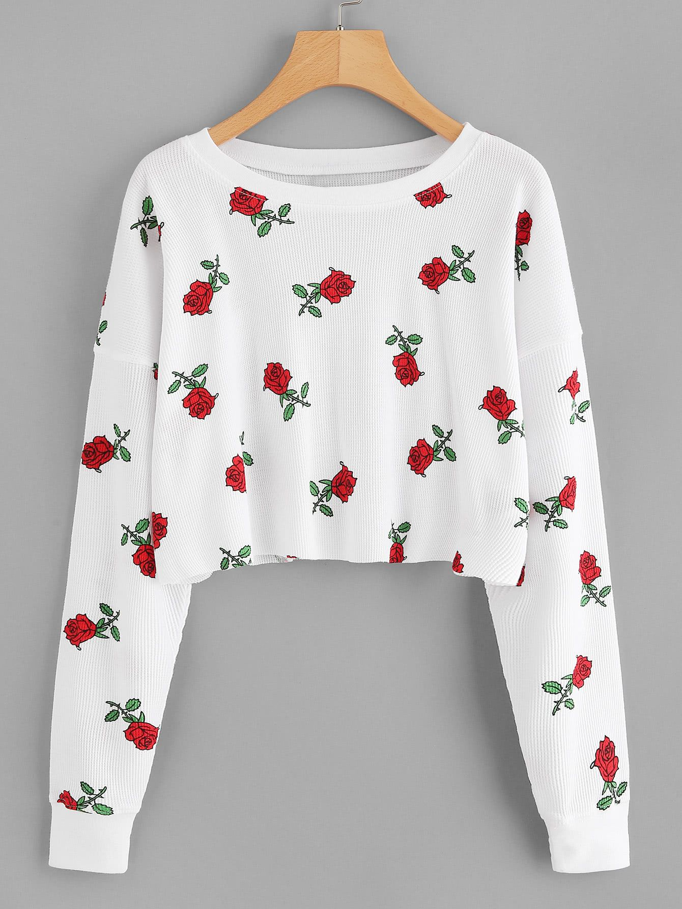 ccc5817fbe501 Rose Print Raw Hem Crop T-shirtFor Women-romwe