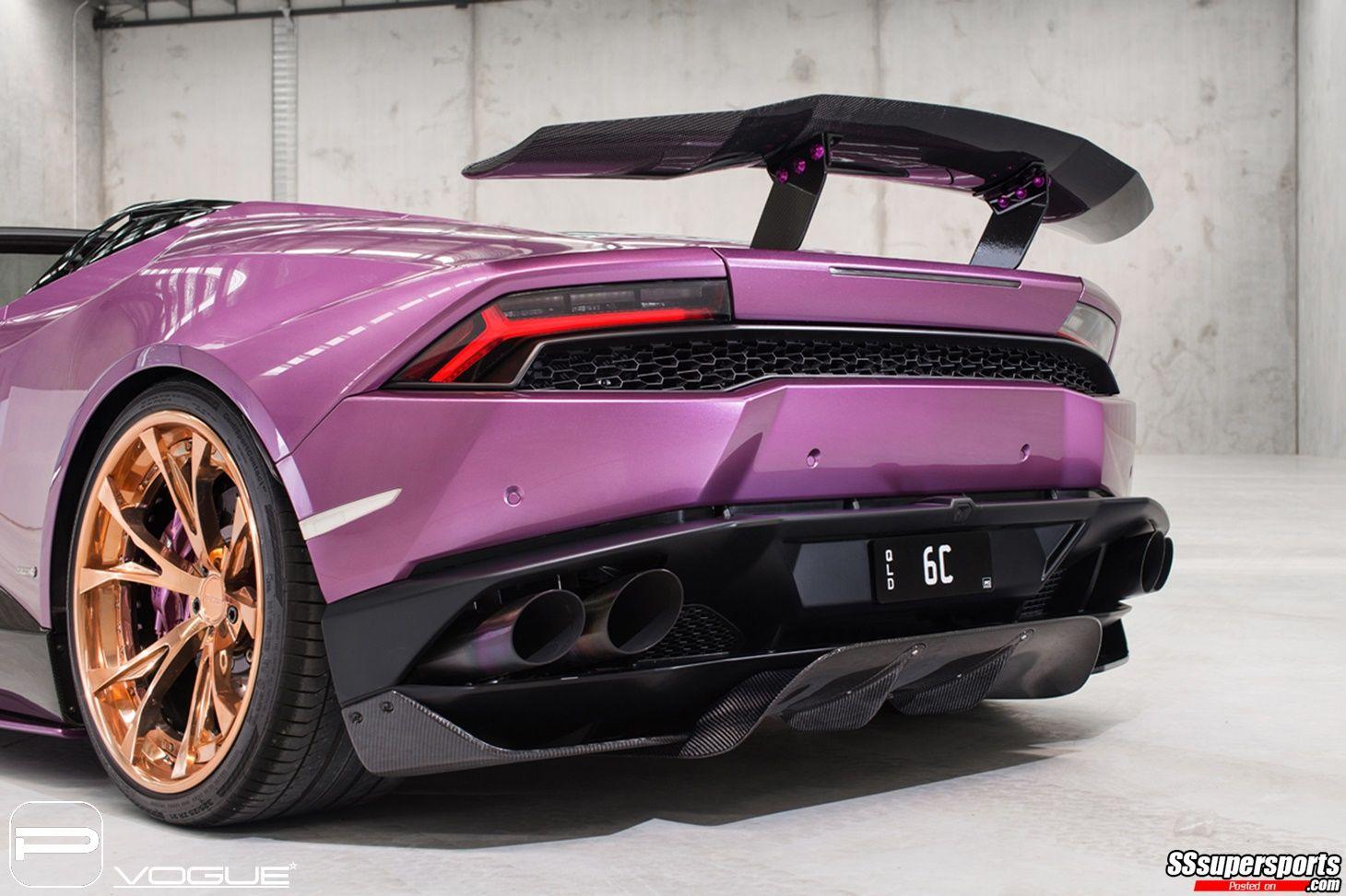 5 Purple Lamborghini Huracan Spyder Gold Rose Pur Wheels Rear End