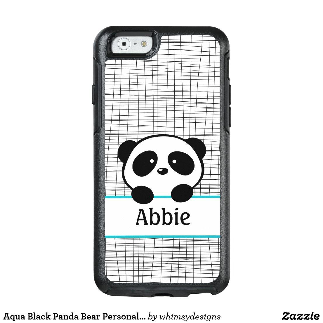Aqua Black Panda Bear Personalized Animal Kids OtterBox