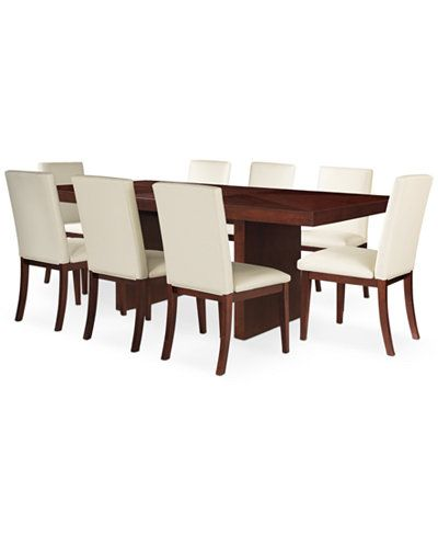 Bari White 9Pcdining Set Table & 8 Chairs  Dining Room Endearing 8 Pc Dining Room Set Review