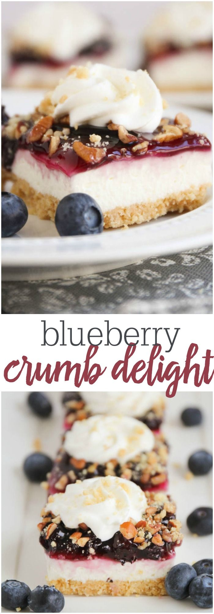 Blueberry Crumb Delight - a delicious layered dessert recipe with a cream middle and topped with blueberries and cool whip!