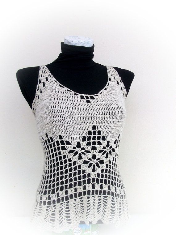 Tapa del tanque de ganchillo beige verano Crochet por RoseClef | top ...