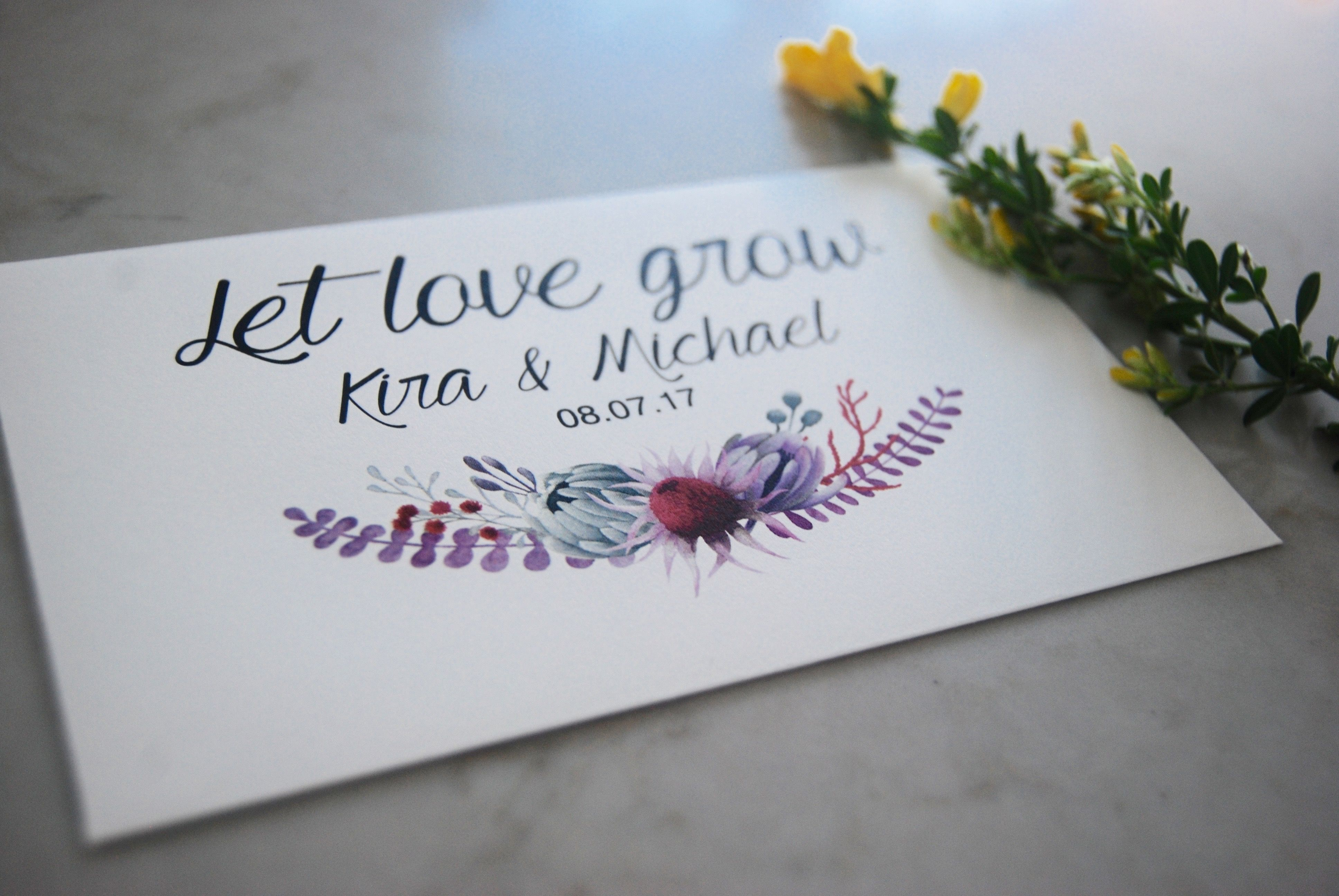 Let love grow! Envelopes come custom printed with your details ...