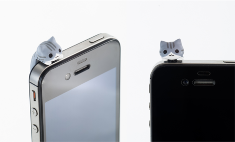 """kitten"" earphone jack cover"