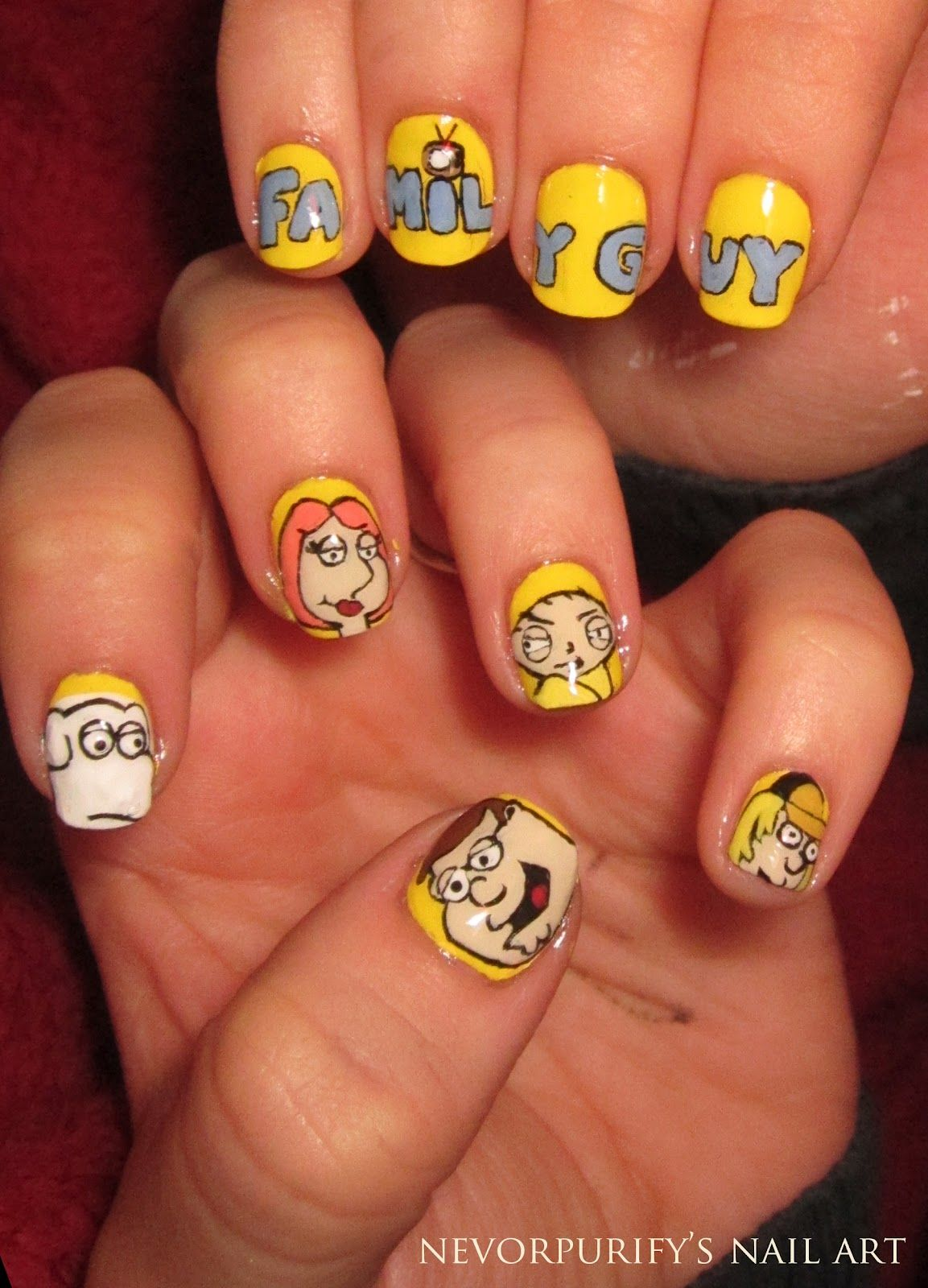 Family guy nail art | If I could I would | Pinterest