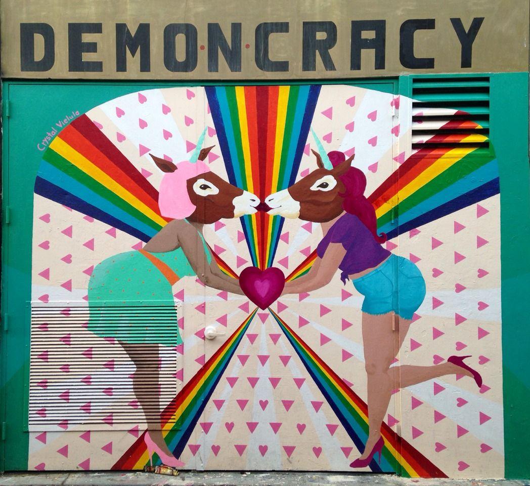 Crystal Vielula Artist Mural Demoncracy Rainbows Unicorns Street Art Graffiti Alley Mission San Francisco