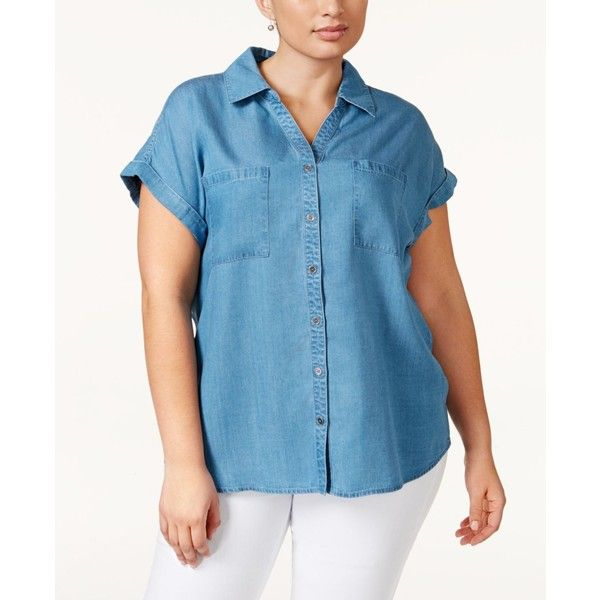 a7eea42b Style & Co. Plus Size Short-Sleeve Denim Shirt, ($32) ❤ liked on Polyvore  featuring tops, sun wash, denim shirt, short sleeve shirts, blue shirt, plus  size ...