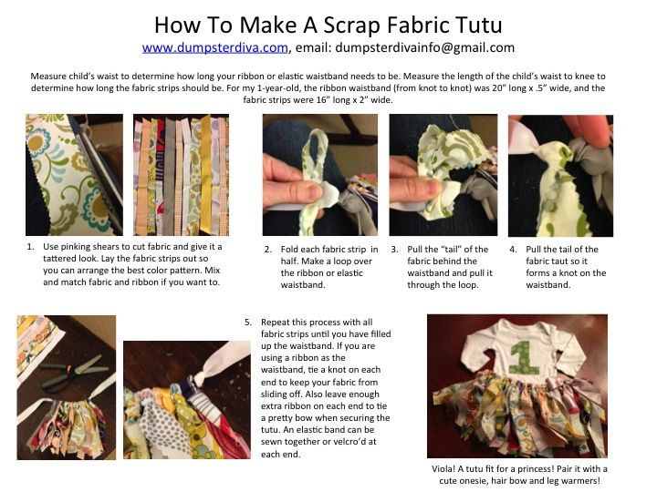 DumpsterDiva.com - How to make a scrap fabric tutu for your little girl's first birthday.