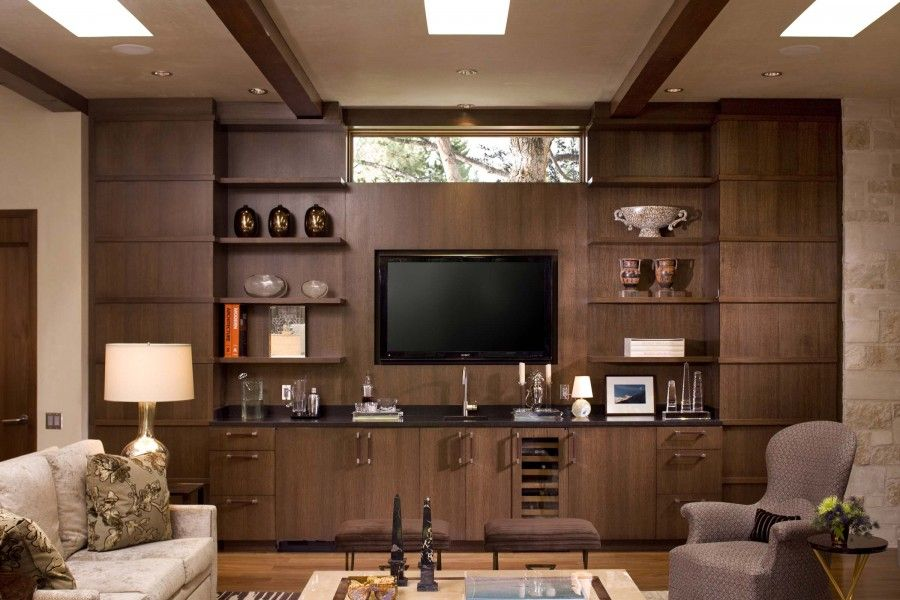 Cute Contemporary Ranch House Remodel Contemporary Living Room Interior  With Beautiful Wood Brown Tv Wall Unit: Tv Wall Units For Living Room