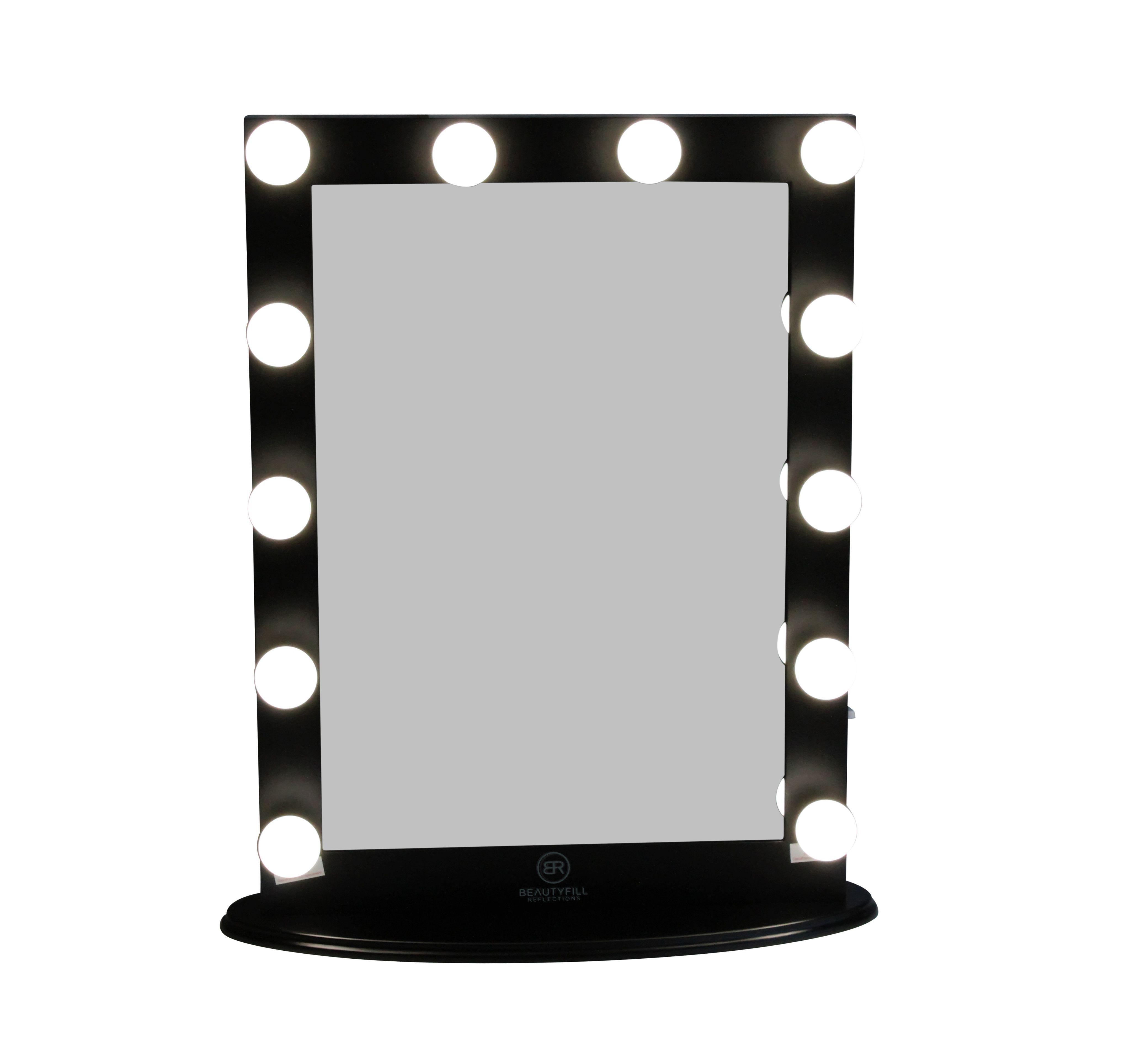 Hollywood Makeup Vanity Mirror Vertical Black with Dimmer
