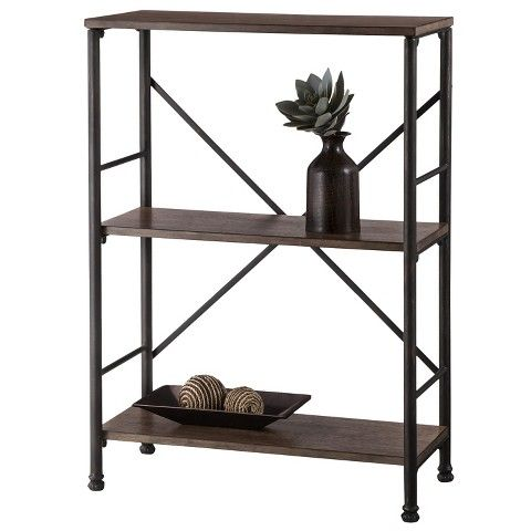 37 8 Mixed Material 2 Shelf Bookcase Brown Threshold