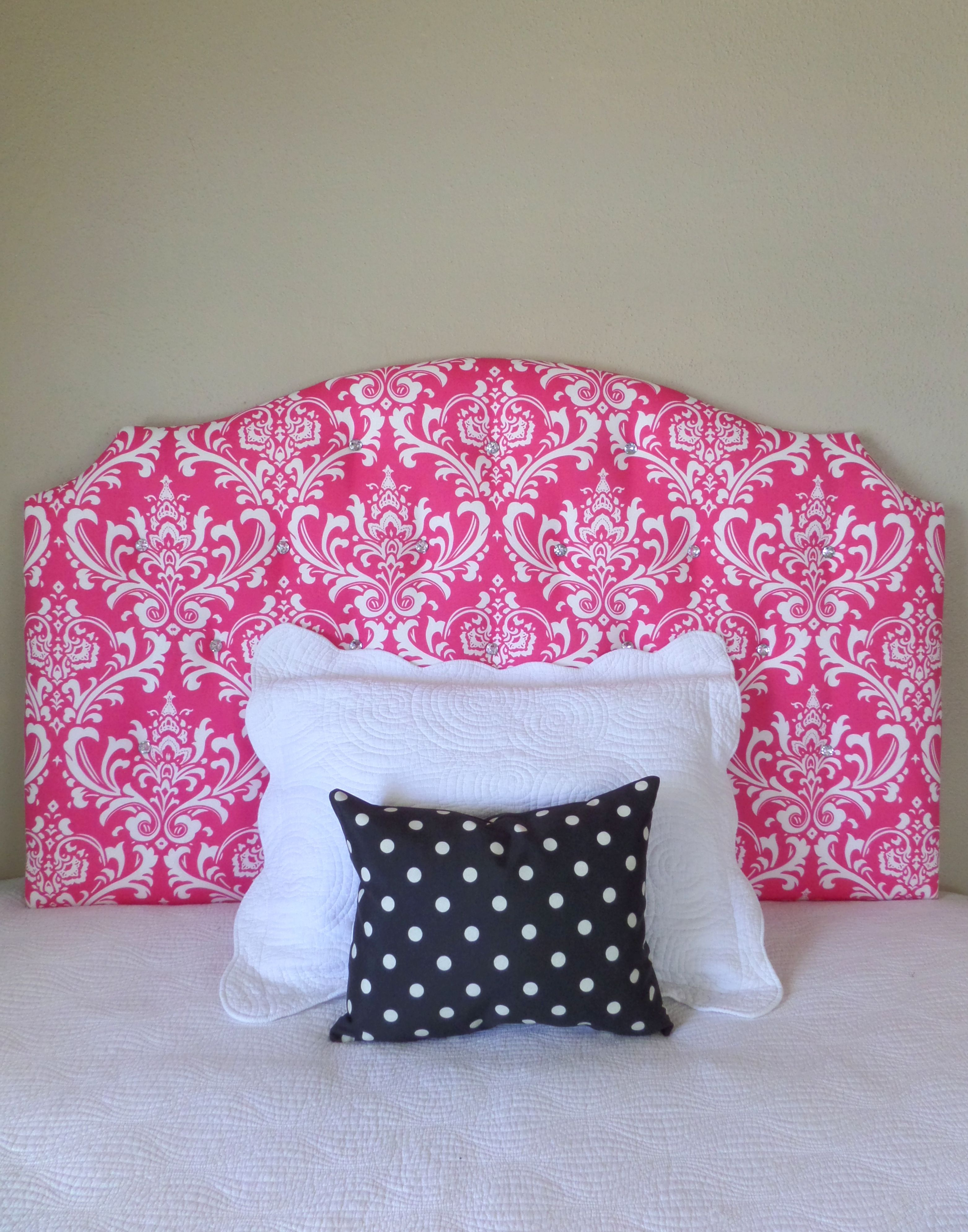 Full Size Hot Pink And White Damask Print Tufted Upholstered Headboard Custom Wall Mounted