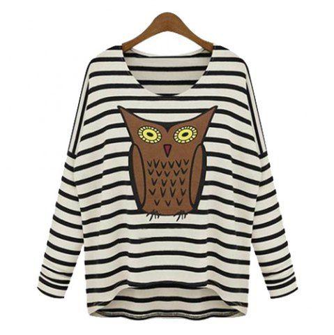 Stylish Scoop Neck Owl Pattern Striped Long Sleeve Women's T-Shirt