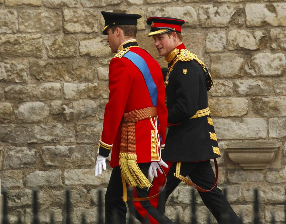 What gorgeous uniforms! - Britain's Prince William and his brother and best man Prince Harry, arrive at Westminster Abbey for Prince William's marriage to Kate Middleton. (Kai Pfaffenbach/Reuters)