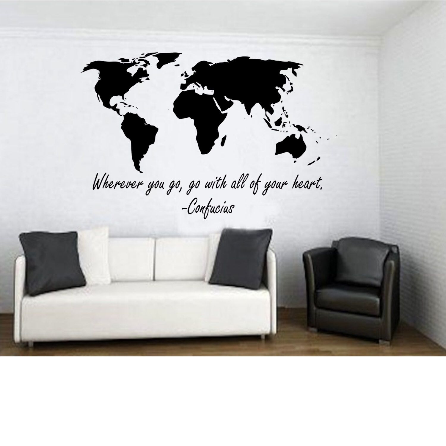 World map with wherever you go go with all of your heart wall world map with wherever you go go with all of your heart confucius quote wall decal by tipitdesigns on etsy gumiabroncs Images