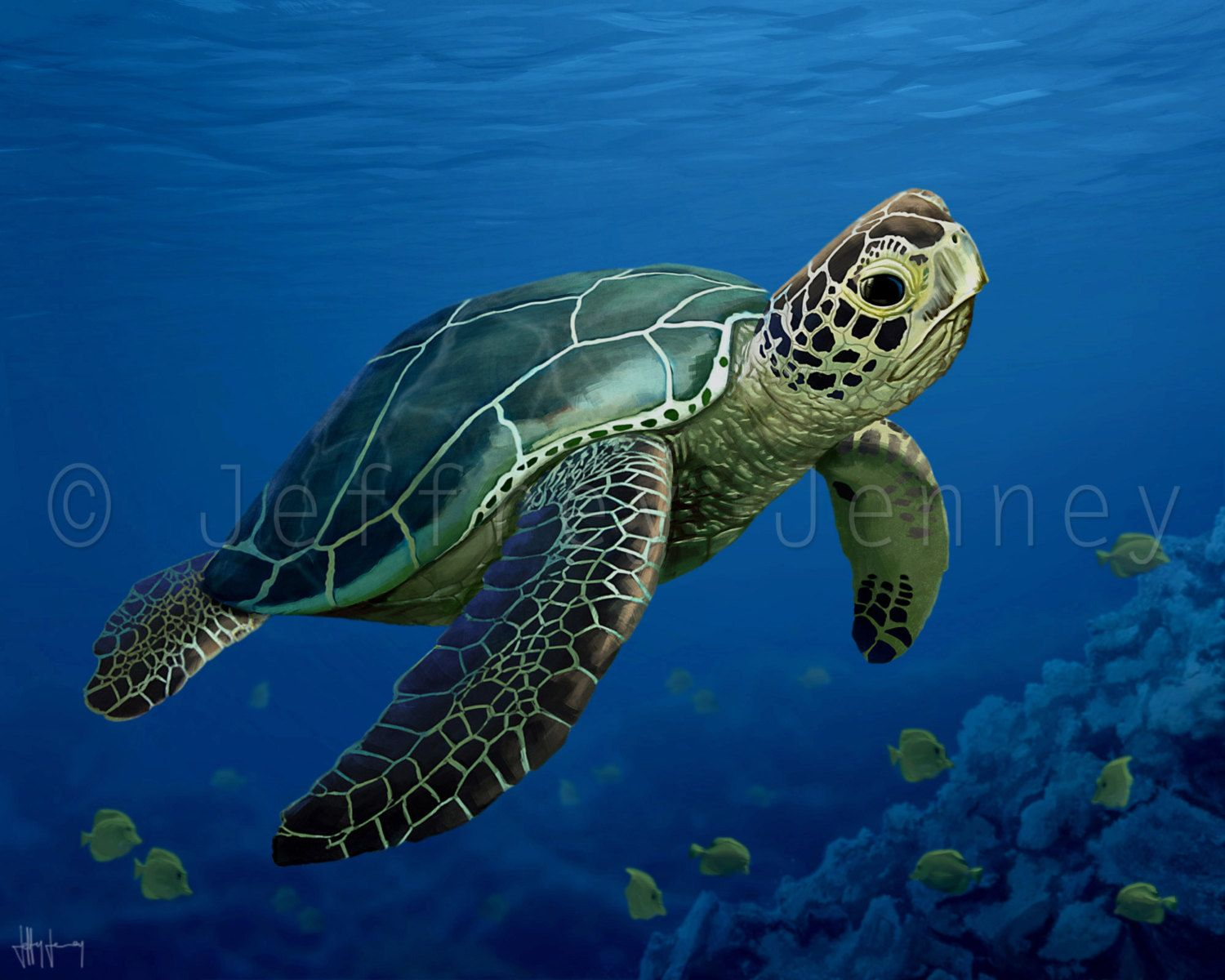 Sea Turtle Print - Fine Art Print From An Original Painting - 8x10 ...
