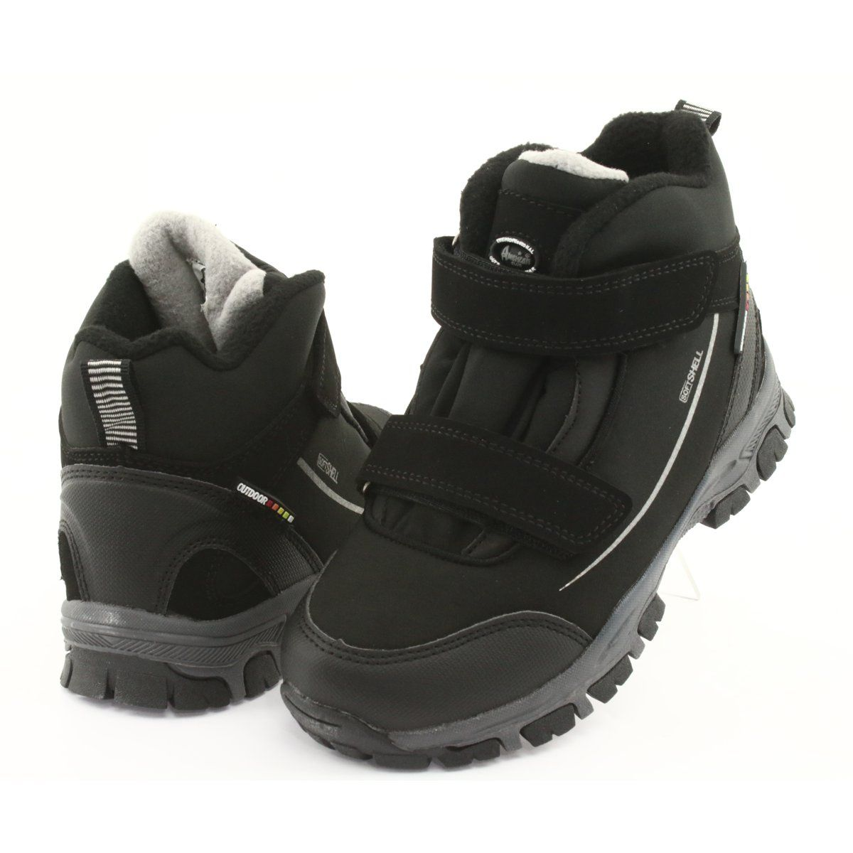 American Club Trzewiki Softshell Z Membrana American Wt64 Czarne Szare Boots Childrens Boots Kid Shoes