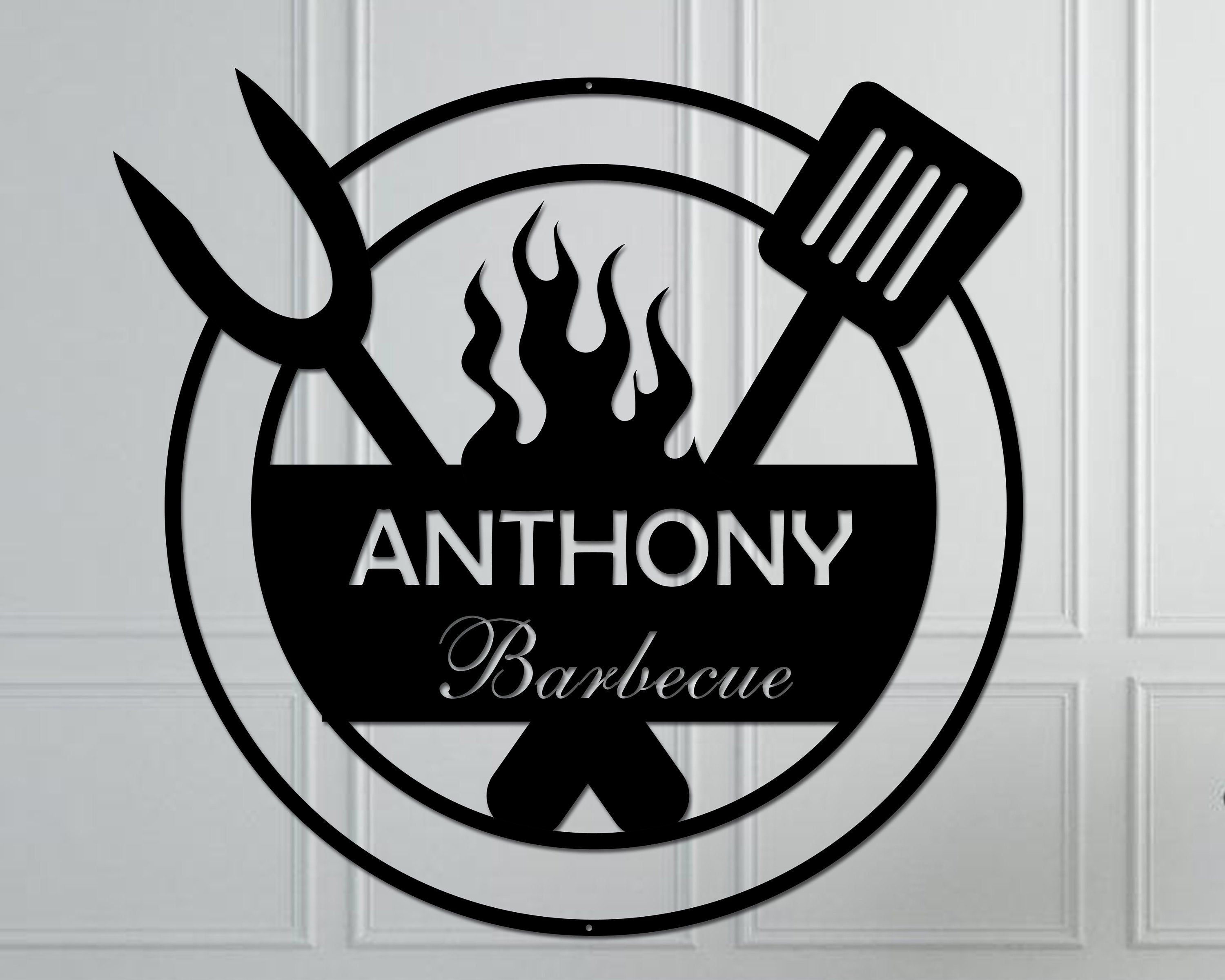 Personalized Backyard BBQ Metal Sign / Outdoor Wall Decor / Metal Wall Decor / BBQ Decor / Metal Wall Art /  BBQ Grill Sign / Metal Wall Art