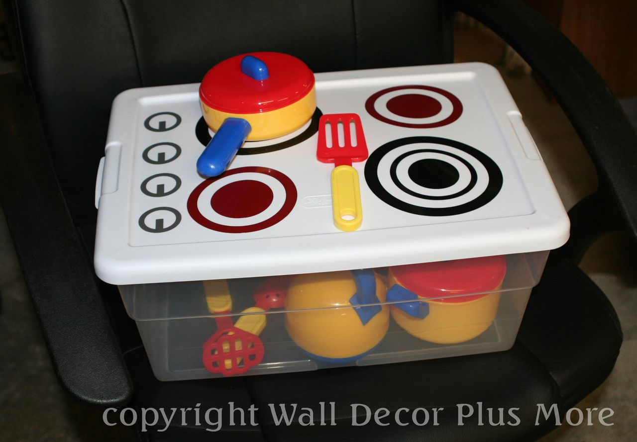 Vinyl Decal Stickers To Make A Diy Play Stove Tote Lid