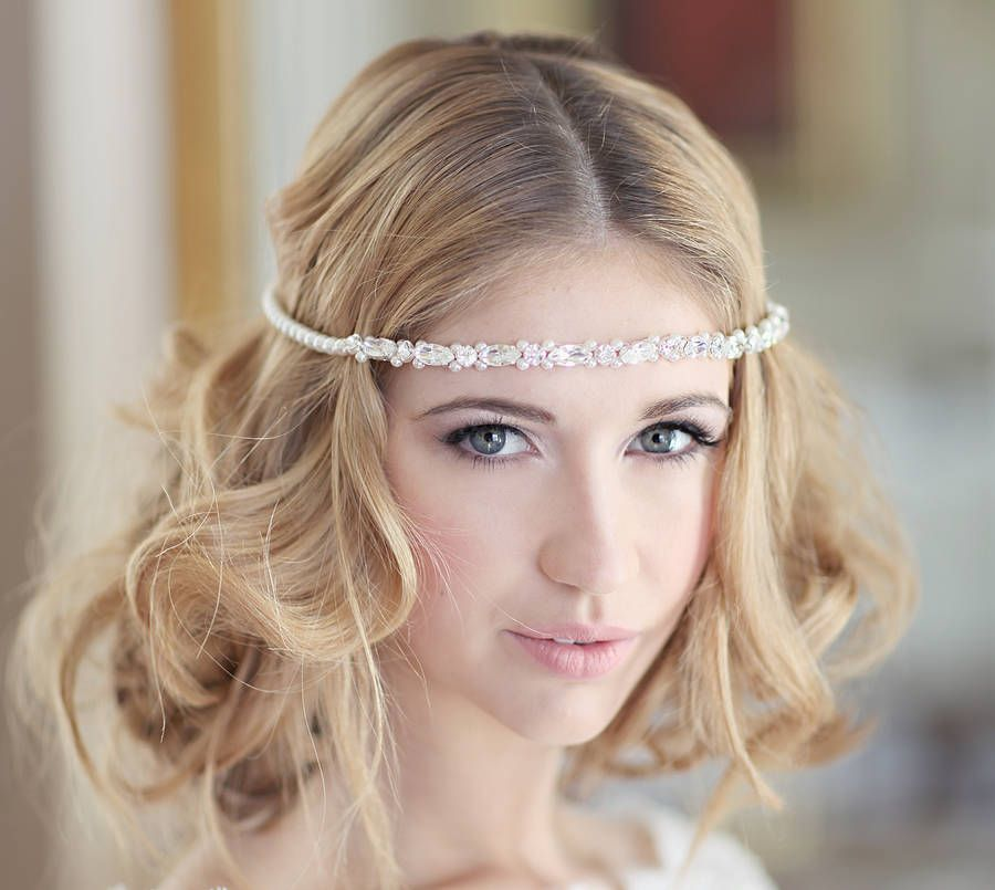 Bridal forehead bands. Mae £ This delicate creation can be worn as a forehead band, choose bridal ivory or go for a colour that tones with your hair to.