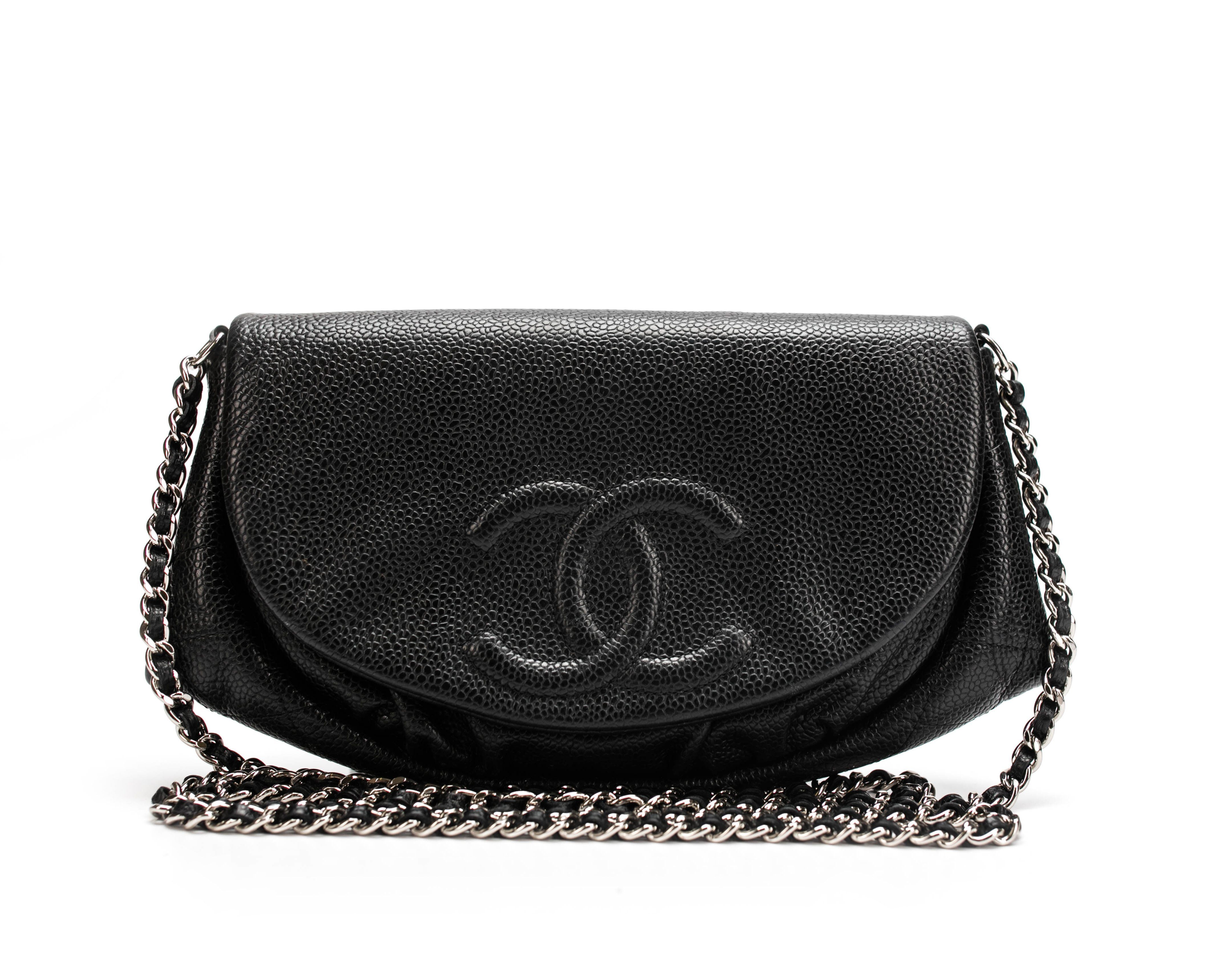 Chanel black caviar half moon woc wallet on chain bag