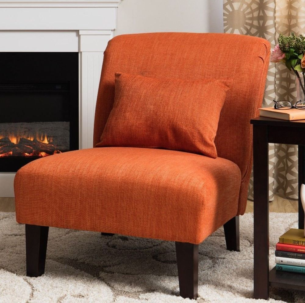 Orange accent chair with throw pillow padded seat living