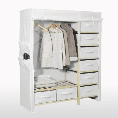 Garde Robe Double 8 Tiroirs Armoire Tissu Mobilier De Salon Et