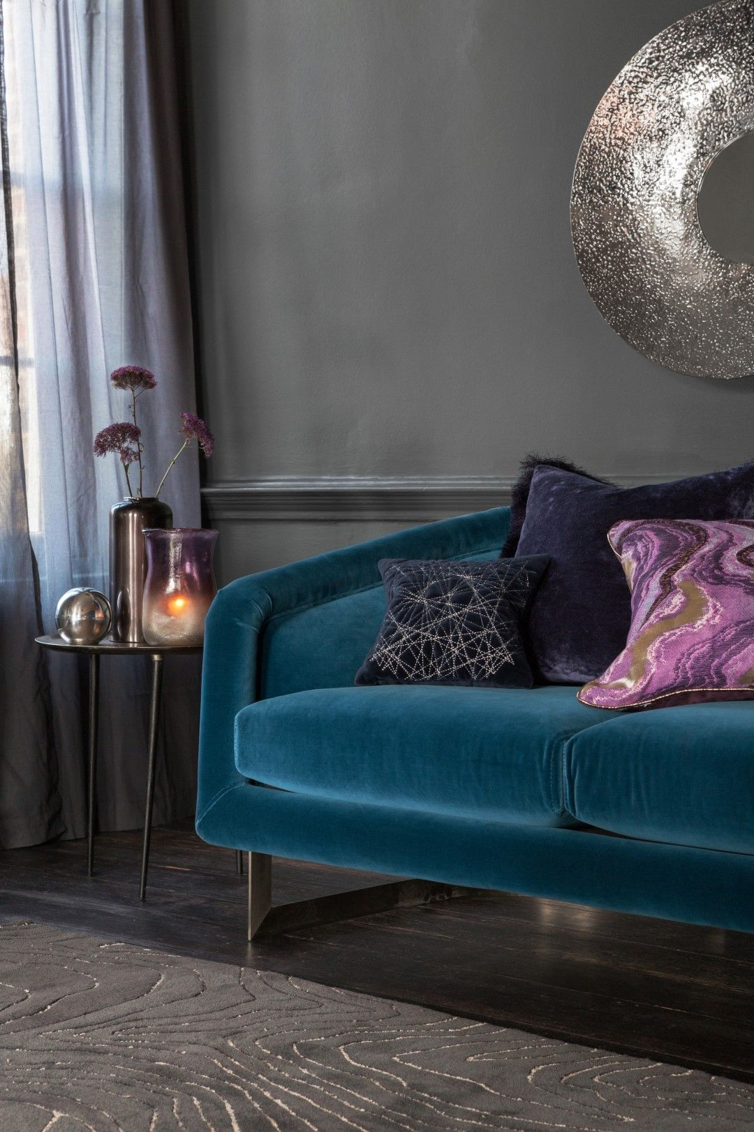 Buy A By Amara Navy Velvet Quilted Pillow 30x30cm Amara Purple Living Room Living Room Designs Living Room Inspiration #yellow #and #purple #living #room